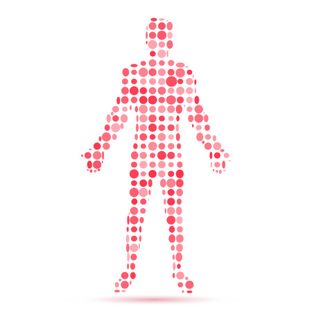 Abstract model of man consisting of circles . Vector illustration.