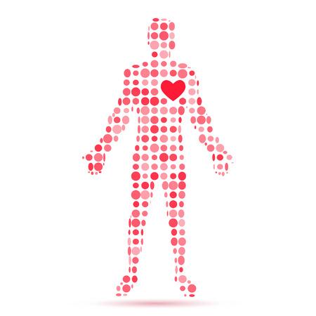 Kalp sembolü ile adam figürünün Özet siluet. Vector illustration.