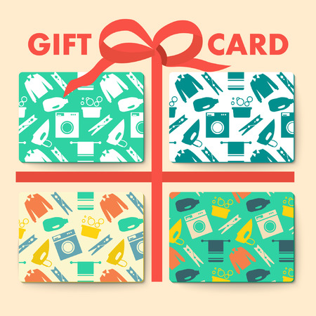 laundry room: Gift cards with laundry and washing seamless patern and gift bows. Vector illustration.