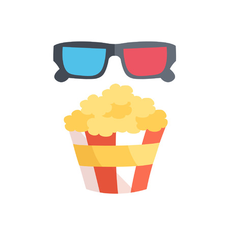 cinematograph: Flat design. Vector illustration of 3D cinema and popcorn