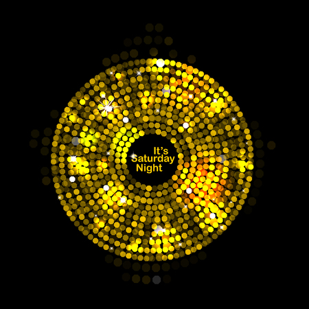 discoball: Vector illustration of abstract gold disco lights frame Illustration