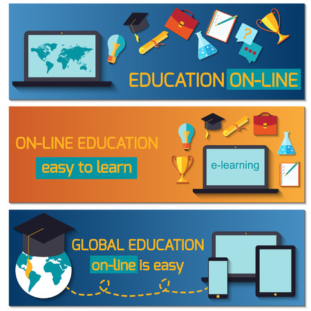 Flat design concept for online education. Concepts for web banners. Vector