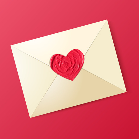 sealing wax: Envelope with sealing wax in the form of heart. Valentine card.