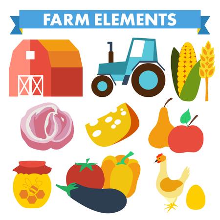spica: Granja y los iconos de la agricultura en espiga, tractor, pala, ma�z, pollo, huevo, tomate Vectores