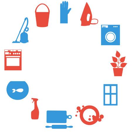 trabajo de la casa con la aspiradora, lavadora, plancha, lavar los platos, cocinar los alimentos