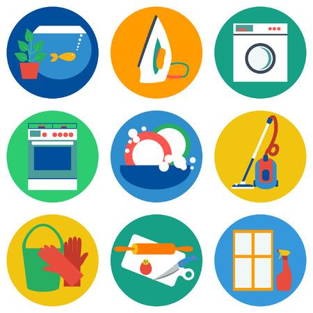 servicio domestico: Iconos de trabajo casa. Ilustración del vector. Diseño plano. Vectores