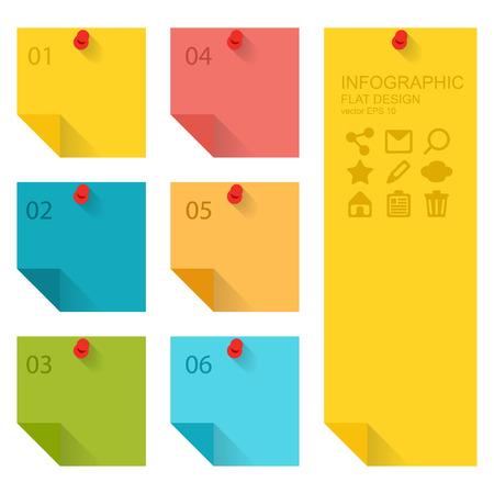 cheque en blanco: Diseño plano de infografías elementos, notas adhesivas de colores Vectores