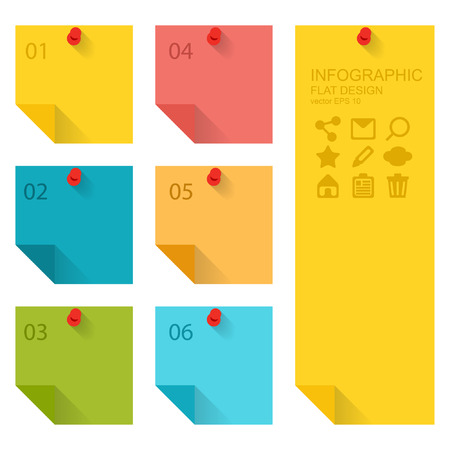 post it notes: Flat design of infographics elements, colorful sticky notes