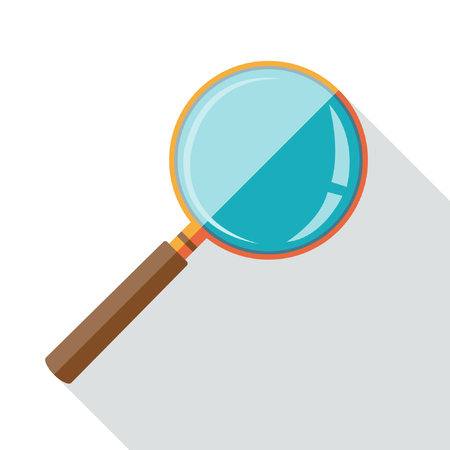 inspect: Flat design icon of magnifying glass with long shadow