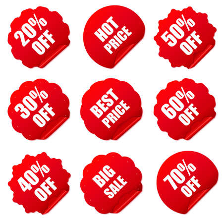 Realistic red discount stickers set. Vector illustration. Vector