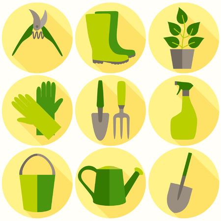 mattock: Flat design set of gardening tool icons isolated on white background.