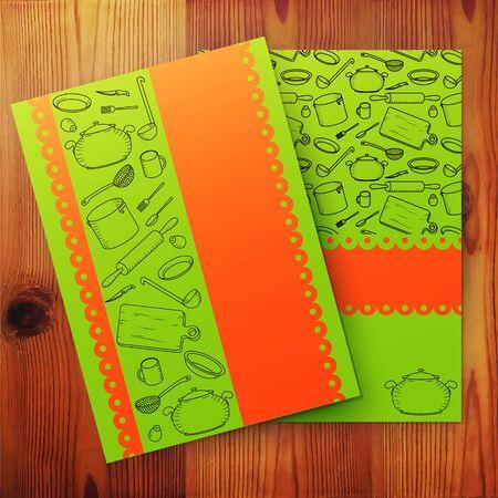 culinaire: Mod�le de la carte de cuisine, culinaire banni�re de l'�cole. Vector illustration.