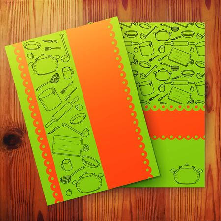 culinair: Template van koken kaart, culinaire school banner. Vector illustratie. Stock Illustratie