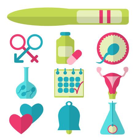 Plat ontwerp, vector set van de vruchtbaarheid iconen op een witte achtergrond