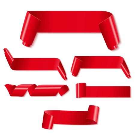 Conjunto de cintas de papel rojo sobre fondo blanco. Ilustraci�n vectorial
