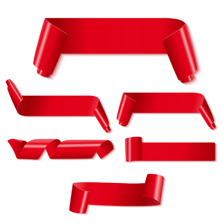 Set of red paper ribbons on white background. Vector illustration