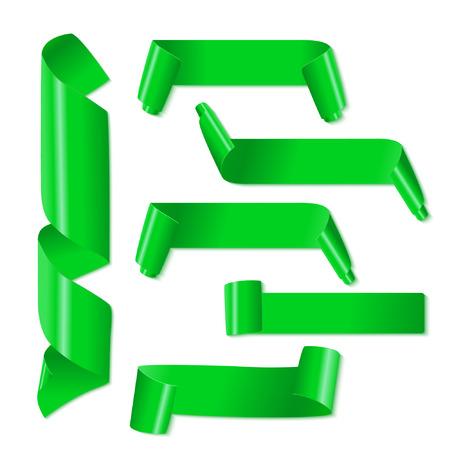 ribbon award: Set of green paper ribbons on white background. Vector illustration Illustration