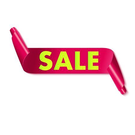 ribbon vector: Sale tag on red ribbon. Vector illustration.