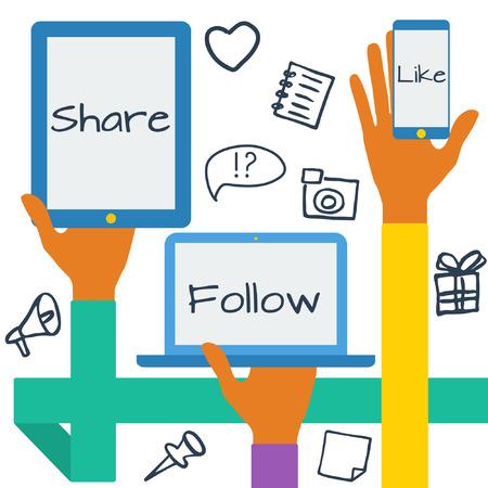 Diseño plano moderno concepto de ilustración vectorial con iconos de redes sociales. Manos con símbolos.