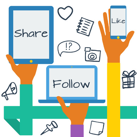 Platte ontwerp moderne vector illustratie concept met sociale media iconen. Handen met symbolen.