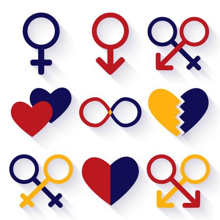Erkek ve kadın seks sembolü Vector illustration
