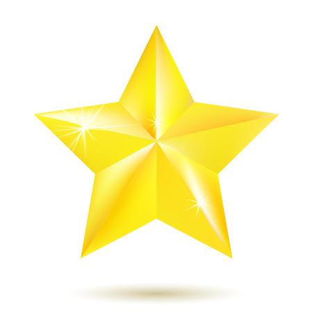 gouden ster: Gouden ster op een witte achtergrond. Vector Illustratie
