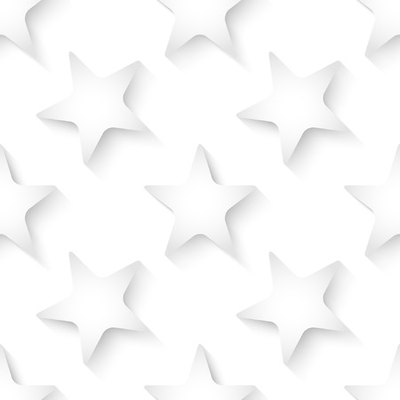 Abstract white vector 3d seamless background with stars.