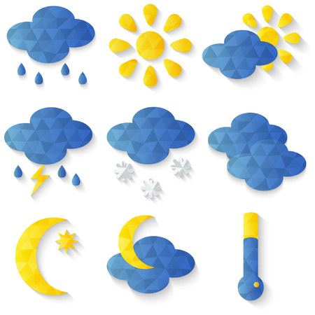 Weather forecast icons set - vector, flat design Vector