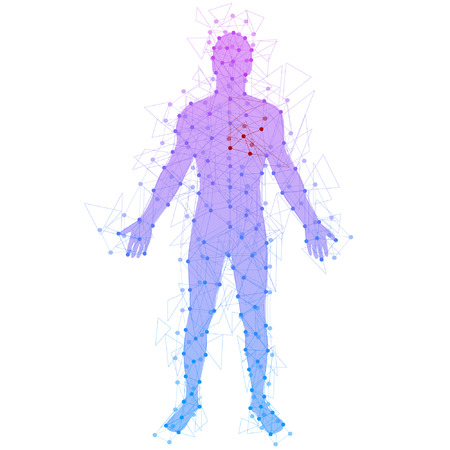the structures: Abstract model of man with points and lines. Vector background