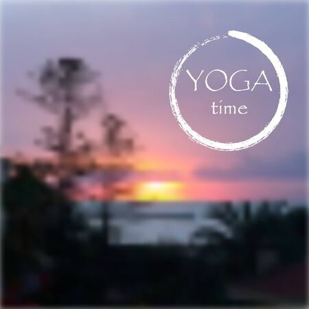 yoga sunset: Vector background for yoga studio with sunset sky