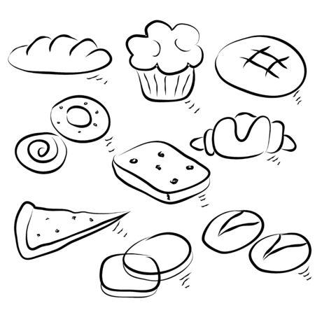 Recogida de alimentos de pan caliente. Bosquejo gr�fico de la mano Vectores