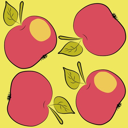 Pattern with red apple