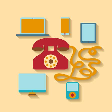 old phone: Flat design vector illustration. Old phone and modern devices Illustration