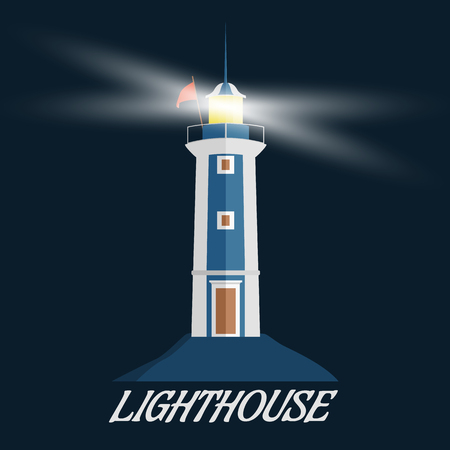 Lighthouse icon. Flat design vector illustration on dark background.