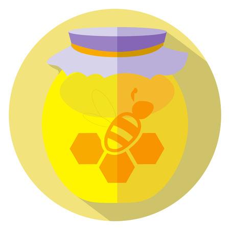apple and honey: Flat design of honey gar icon. Vector illustration.