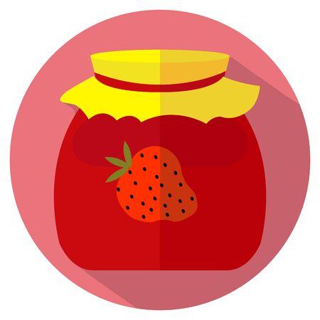 Dise�o plano del icono tarro de mermelada de fresa. Ilustraci�n del vector. Vectores