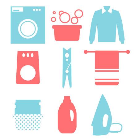Laundry and Washing Icons. Vector illustration.  Flat design.