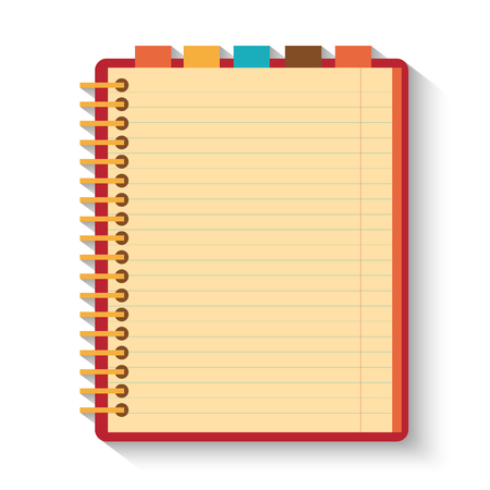 Notebook isolated on whitr background. Flat design.