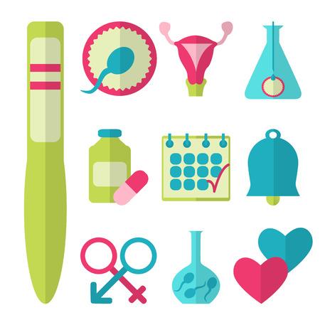 Plat ontwerp, vector set van de vruchtbaarheid iconen op een witte achtergrond Stockfoto - 37885336