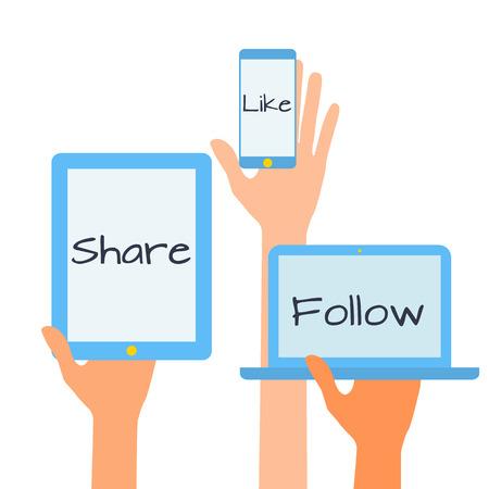 Dise�o plano ilustraci�n vectorial concepto de iconos de los medios sociales. Manos con simbols.