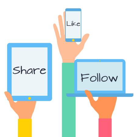 Diseño plano ilustración vectorial moderno concepto de iconos de los medios sociales. Manos con símbolos.