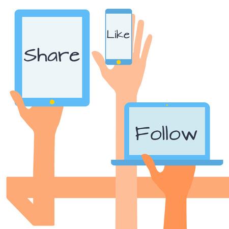 simbols: Flat design modern vector illustration concept of social media icons. Hands with simbols.
