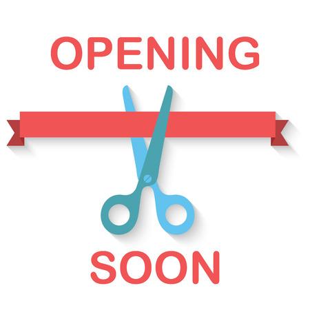 launching: Flat design of scissors cutting red ribbon. Vector illustration