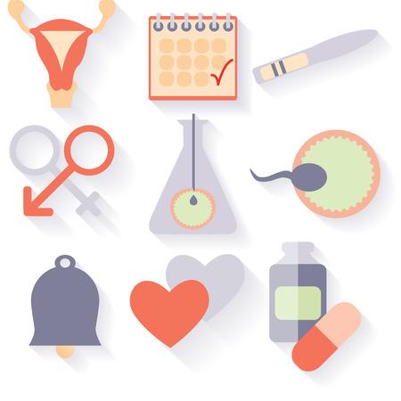 Flat design, vector set of fertility icons