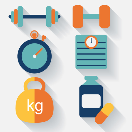 sit ups: Fitness icons-flat design. vector Illustration