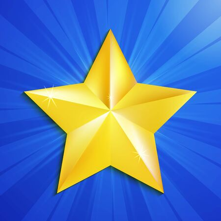 gold star: Gold star on blue background. Vector Illustration Illustration