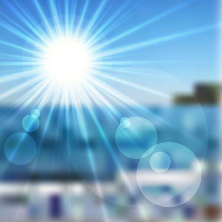 brightly: Vector illustration of the sun in a blue sky and sea Illustration