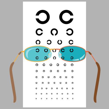examen de la vista: Lentes y carta de ojo. Fesign plana. Ilustración del vector.