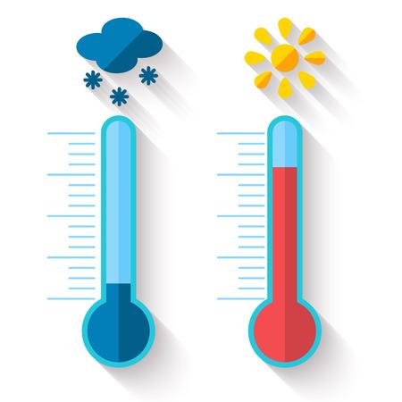 frio: Diseño plano de calor de medición Termómetro y frío, con sol y copo de nieve iconos, ilustración vectorial