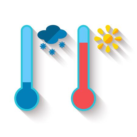 暑さや寒さ、太陽と雪の結晶アイコン、ベクトル図を測定する温度計のフラットなデザイン  イラスト・ベクター素材